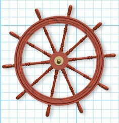 A ship's steering wheel